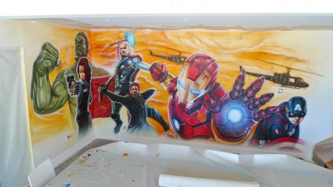 Mur de séjour théme Avengers